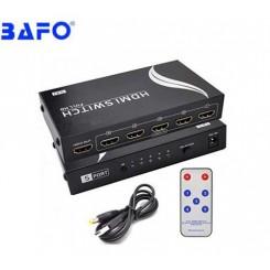 سوئیچ 5 پورت HDMI با قابلیت پخش 3D و4Kبه همراه ریموت کنترل بافو