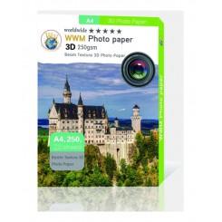 کاغذ فتوگلاسه دو رو 250گرمی  WWM سایز  A4 3D